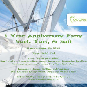 Surf, Turf, & Sail…Foodies on Foot 1 Year Anniversary Party